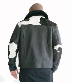 Cow Print Shearling and Pony Fur Mens Jacket