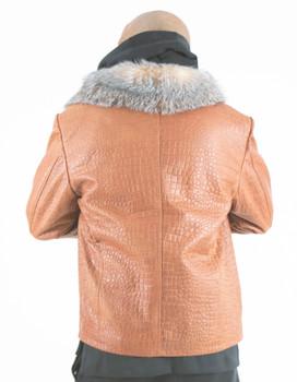 Tan Croc Fur Lined Jacket