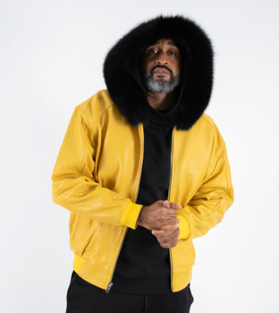Yellow leather Jacket Black Fur Lined