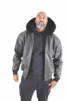 Black Croc Embossed Leather Jacket fur trim hood