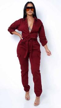 Burgundy Jogger Style Slim Jumpsuit