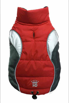 Wave Reflective Dog Puffer Vest - Red