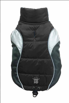 Wave Reflective Dog Puffer Vest - Black