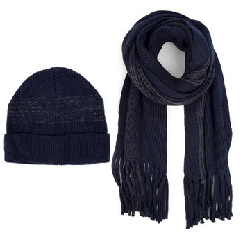 Navy knit Hat and Scarf Set
