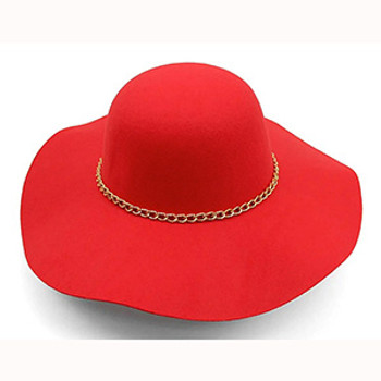 Red Floppy Hat with Gold Chain