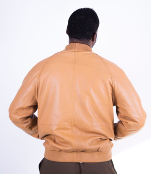Peanut Butter Soft Leather Baseball Jacket