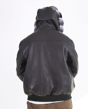 Raw Leather Bomber with Chinchilla Trim Hood