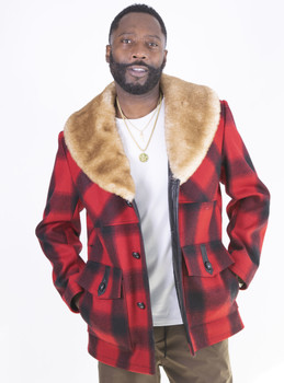 Red and Black Lumberjack with fox fur collar