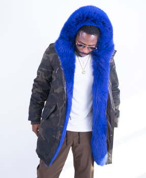 Camo Parka with Royal Blue Trim on Collar