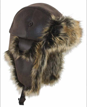 Faux Fur and Leather Trapper Hat