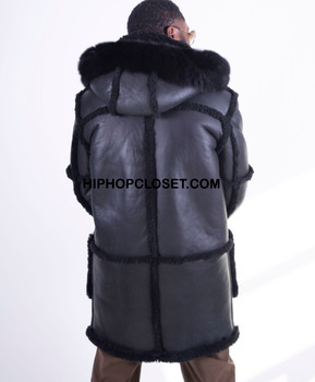 All Black Everything Hooded Sheepskin Coat