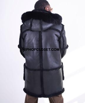 All Black Everything Hooded Sheepskin Coat