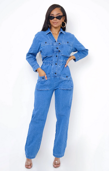 Denim Button Down Jumpsuit