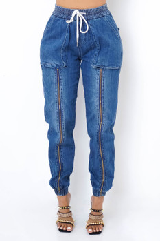 Zipper Front Denim Joggers