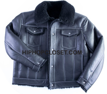 Black Trucker Jean Style Sheepskin Jacket
