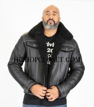 Black Trucker Jean Style Sheepskin Jacket