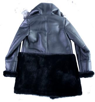 Black Ladies Half and Half Sheepskin Jacket
