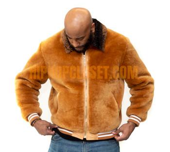 Tan Varsity Style Mouton Fur Jacket