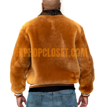 Tan Varsity Style Mouton Fur Jacket