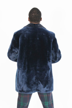 Blue Mouton Fur Pea Coat For Men