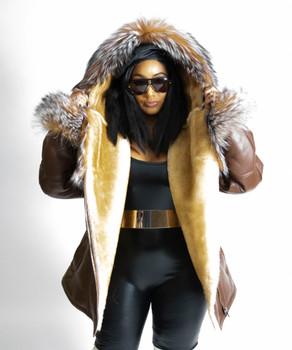 Ladies Brown Side Zip Sheepskin Coat with Fox trim