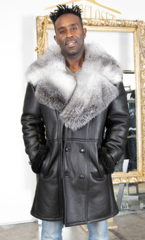 Black Shearling with Silver Fox Trim on Collar