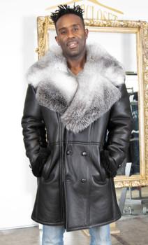 Black Shearling with Silver Fox Trim on Collar
