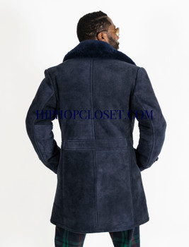 Blue Suede Sheepskin Pea Coat