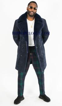 Blue Suede Sheepskin Pea Coat