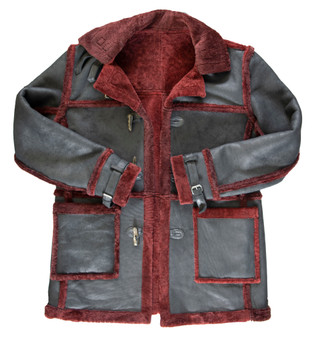 Black and Merlot Lightweight Sheepskin Jacket