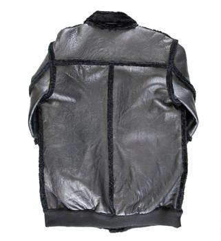 Black Sheepskin Bomber Long line Jacket