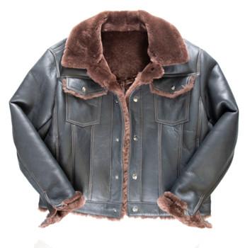 Brown Denim Style Sheepskin Jacket