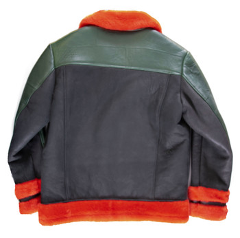 Red Black and Green Sheepskin Jacket