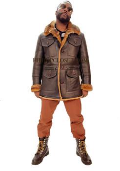 3/4 Length Chocolate 4 Pocket Sheepskin Jacket