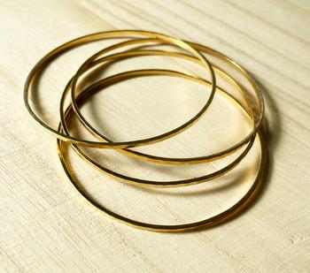 Gold Hammered Bangle Set