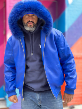 Royal Blue Butter Soft Baseball Leather Jacket with hood