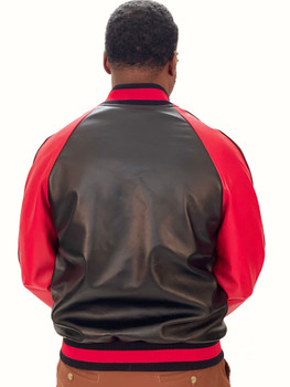 Red And Black Striped Leather Bomber Jacket