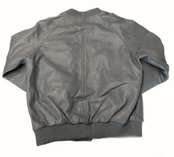 Grey Butter Soft Leather Baseball Jacket