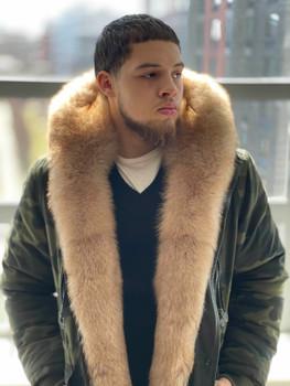 Camo Snorkal Coat Fox Trim Jacket