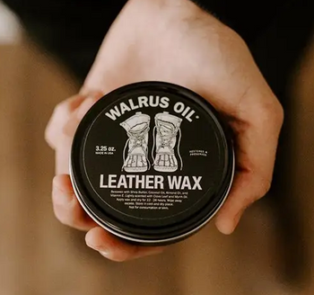 Walrus Oil Leather Wax and application cloth