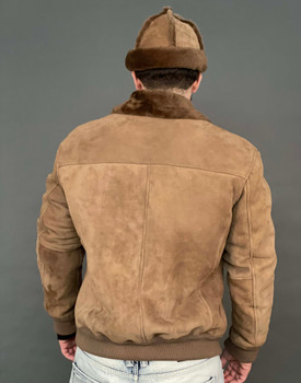 Tan Suede Finish Sheepskin Bomber Jacket