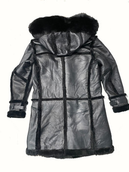 All Black Three Quarters Sheepskin with Fox Hood