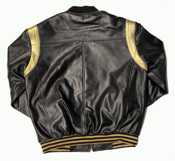 Black And Gold Baseball Leather Jacket