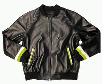 Black & Green Butter Soft Leather Baseball Jacket