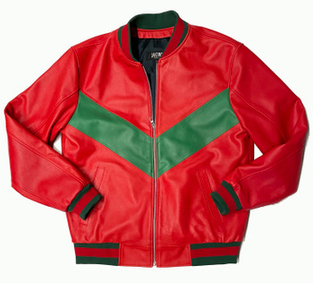 Red & Green Butter Soft Baseball Leather Jacket