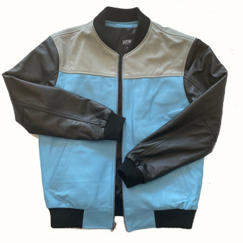 Blue and Grey Butter Soft Leather Baseball Jacket