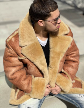 Crispy Tan Mens Sheepskin Jacket