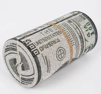 Hundred Dollar Roll Money Rhinestone Clutch Purse