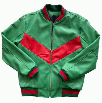 Green and Red Soft Baseball Leather Jacket