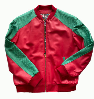 Red and Green Snake Print Butter Soft Baseball Leather Jacket